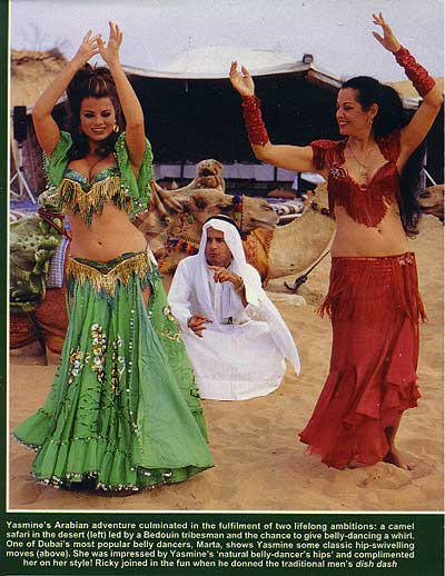 marta and yasmine bleeth dancing in the Dubai desert